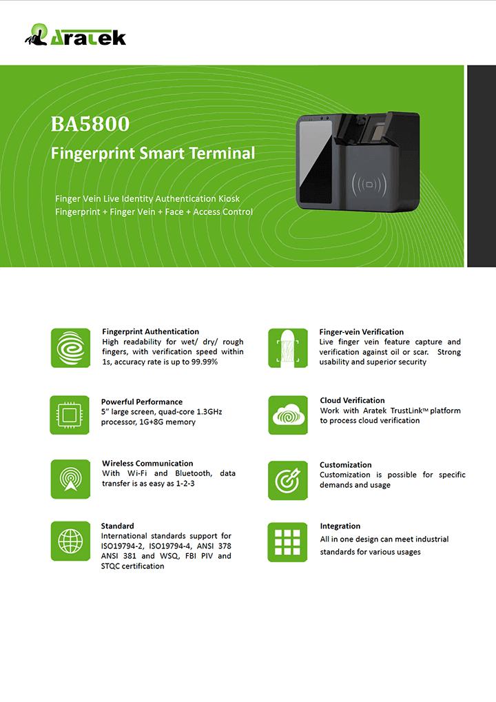 Aratek Biometric Mobile Fingerprint Smart Terminal - BA5800