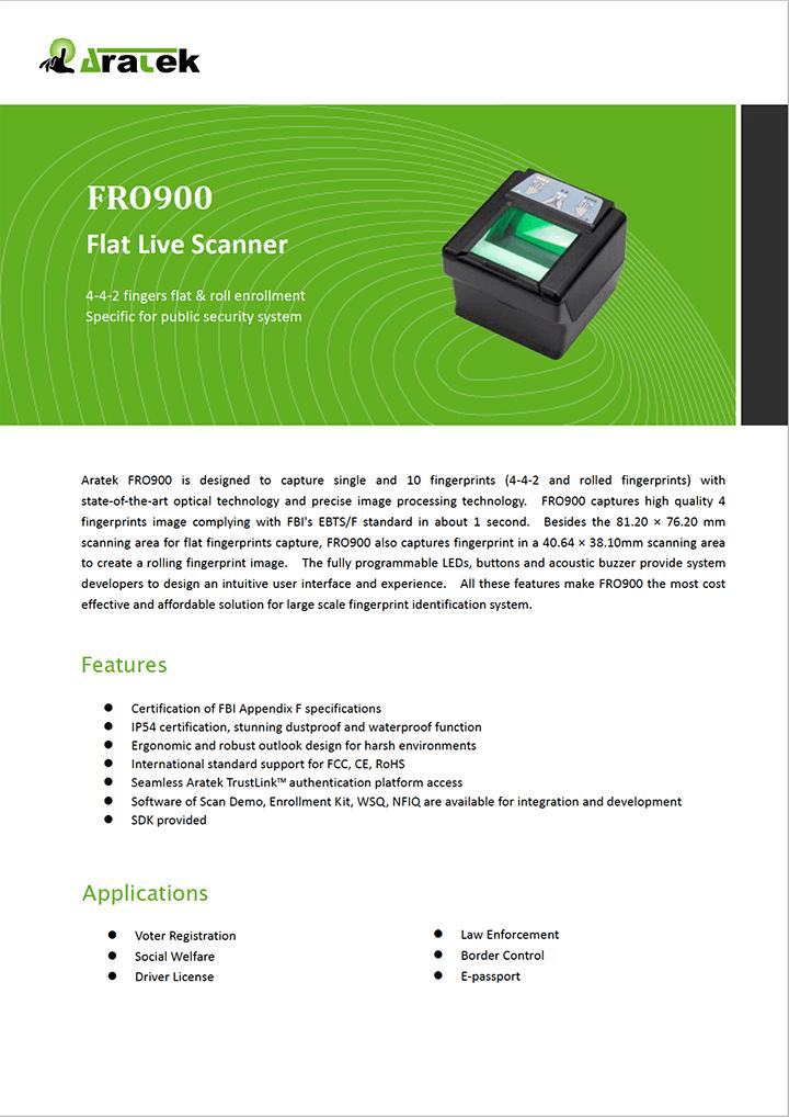 Aratek Optical Fingerprint Scanner - FRO900
